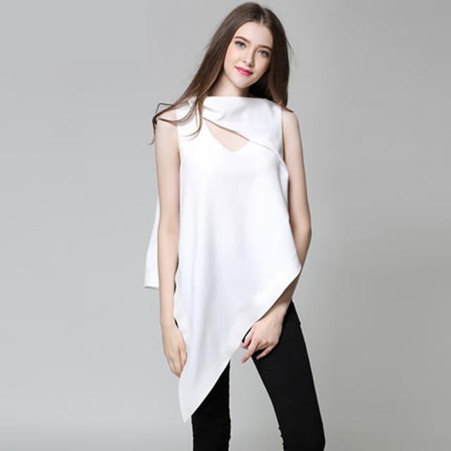 Primavera Verano 2017 Nueva Corea Mujeres Sexy Hueco Sin Mangas Camiseta Larga Irregular Hem Tops Camisa