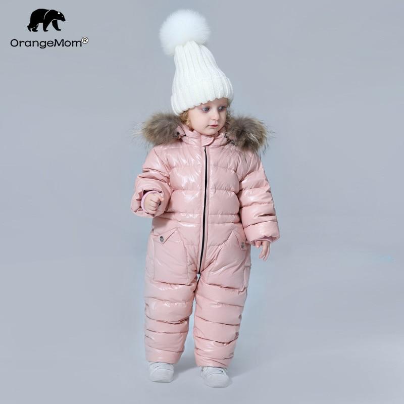 degree Russian winter children s clothing down jacket boys outerwear coats thicken Waterproof snowsuits Girls