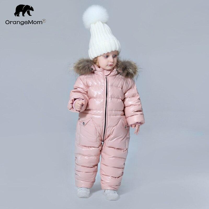 Degré russe hiver vêtements pour enfants doudoune garçons manteaux pour vêtements de dessus, épaissir imperméable snowsuit filles vêtements