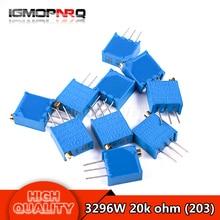 1lot=10Pcs 3296W-203 3296W 20K ohm Multiturn Trimmer Potentiometer top control Adjustable Resistance 3296W 203 3296W-1-203LF