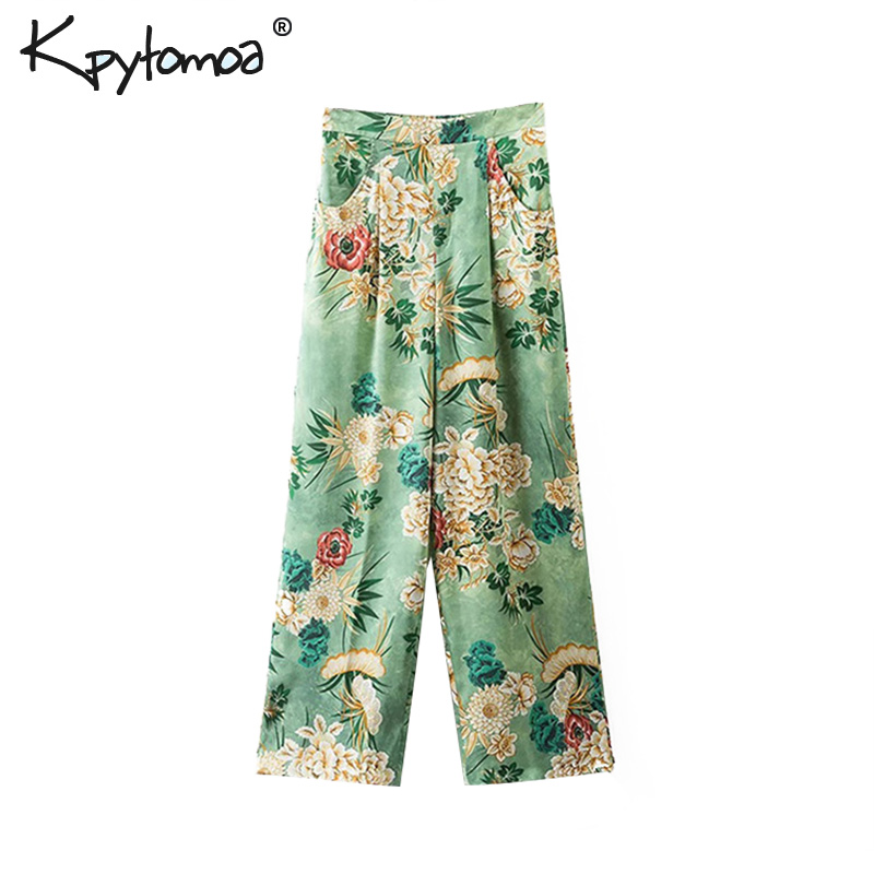 Vintage Chic Floral Print   Wide     Leg     Pants   Women 2019 Fashion High Elastic Waist Loose Ladies Ankle Trousers Casual Pantalon Mujer