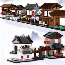 Diy Mini Chinese Style Creative Ancient Architecture Model Compatible Legoed Building Kits Blocks House Sets Educational Toys