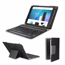 TeckNet Wireless Removable Bluetooth Keyboard with Portable Folio Case Cover for All Models of Tablets Up To 7 inches-black