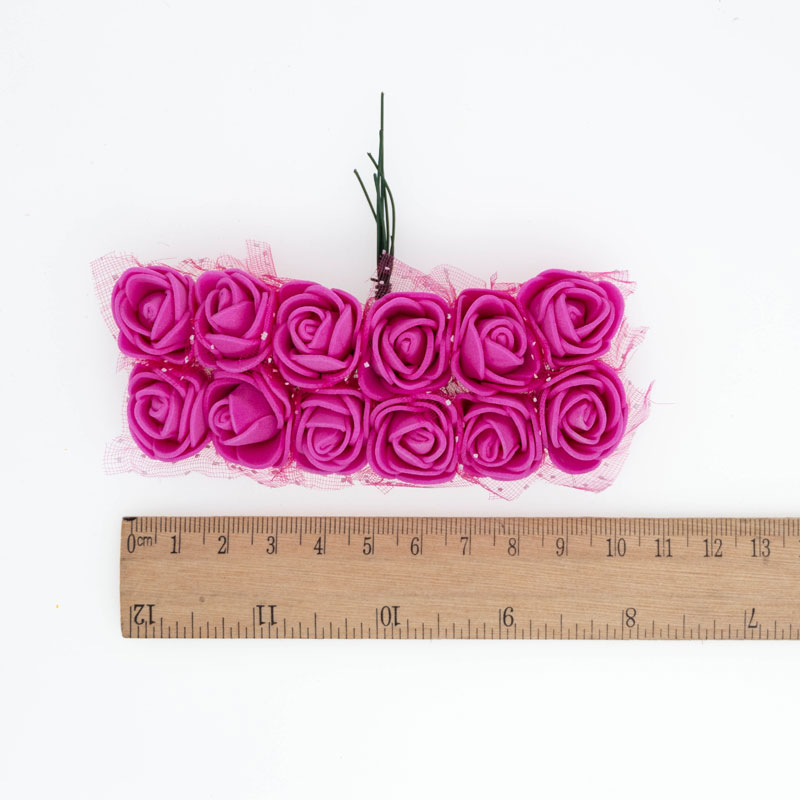 120pcs lot Mix Color Foam Roses Artificial Flowers Fake Rose 2cm Small Flowers For Craft Home Decor Flowers For DIY Bouquet in Artificial Dried Flowers from Home Garden
