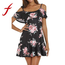 Women Summer Dresses Sexy Cold Shoulder Floral Printed Mini Dress Spaghetti Strap Beach Dress