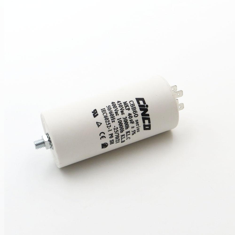 CBB60 Motor Laufen Kondensatoren 40 uf 400 v 450 v 4 pins SH DB Polypropylen Film Ac 450VAC Wasser Pumpe elektrische motor 40mfd 40mf