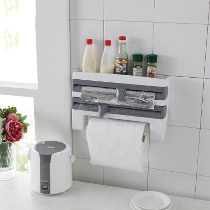Organizador de cocina se aferra película de salsa de botella de almacenamiento de botella de Rack titular de toalla de papel de pared Pared de rollo de papel de envoltura de plástico herramientas de corte