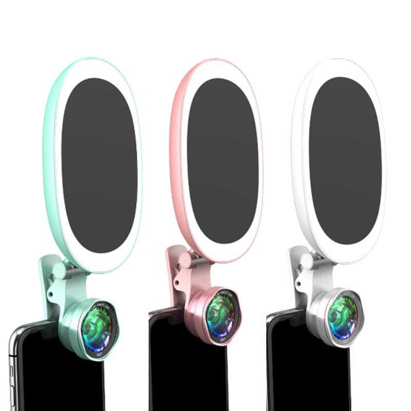 Селфи фотография 60 Светодиодный вспышка Портативный Мобильный объектив светящееся зеркало телефон камера красота фонарь для телефона Широкий Ангел макро