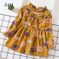 Детские платья для девочек с длинными рукавами; осеннее платье для принцессы с воротником в стиле Питера Пэна; детская одежда с цветочным ри...