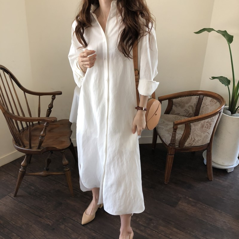 Blue Long Sleeve Long Shirt Dress Spring Casual Patchwork White cotton Dresses Collar Buttons Loose Dresses Robe Femme Vestido 19