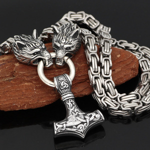 Image 2 - Men stainless steel Wolf head norse viking amulet thor hammer  pendant necklace viking king chain