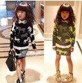 V-TREE NOVO outono inverno conjuntos de roupas de bebê meninas cor hit pullover camisola e saia roupa dos miúdos conjuntos pônei crianças roupas