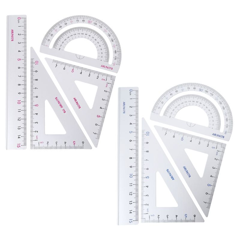 4Pcs/SET Drawing School Supplies Set Square Triangle Ruler Aluminum Alloy Protractor Random Color
