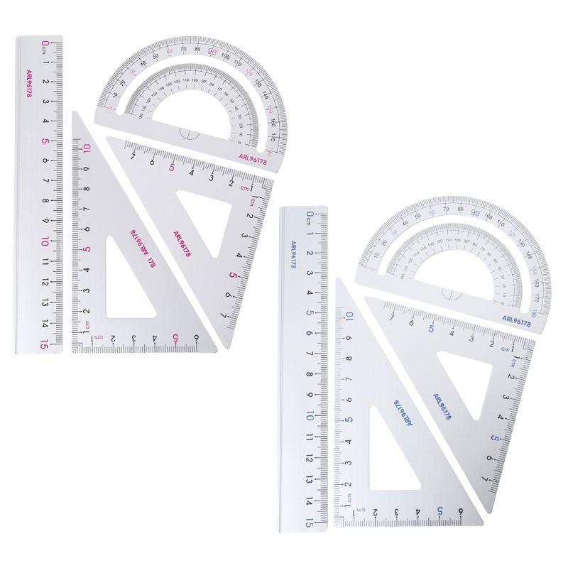 4Pcs/SET Drawing School Supplies Set Square Triangle Ruler Aluminum Alloy Protractor Random Color