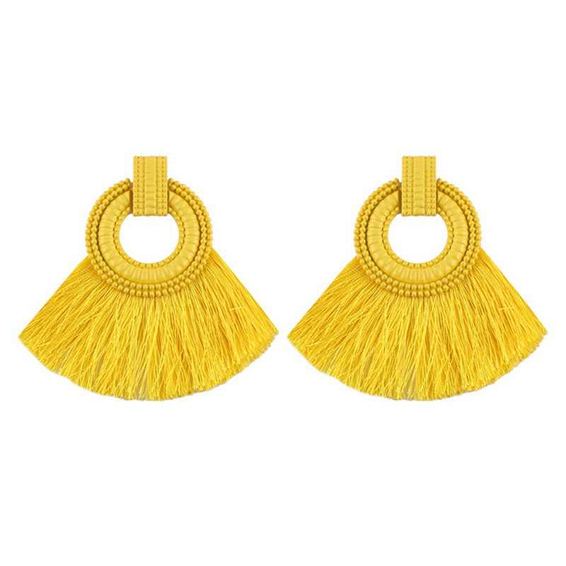 FUNIQUE Fashion Women Tassel Earrings 2018 Brincos Boho Statement Fringe Earings Circle Vintage Round Earring Jewelry