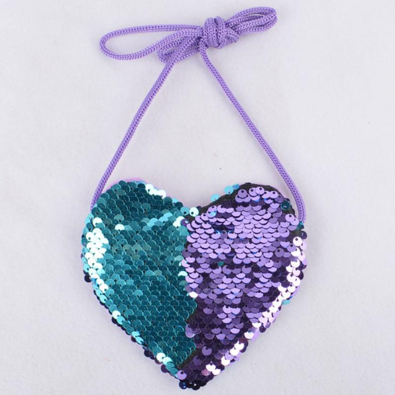 Fashion Sequins Coin Purse With Lanyard Kids Cute Mini Messenger Bag Party Love Heart Shape Girls Birthday Gift Key Coin Bag~