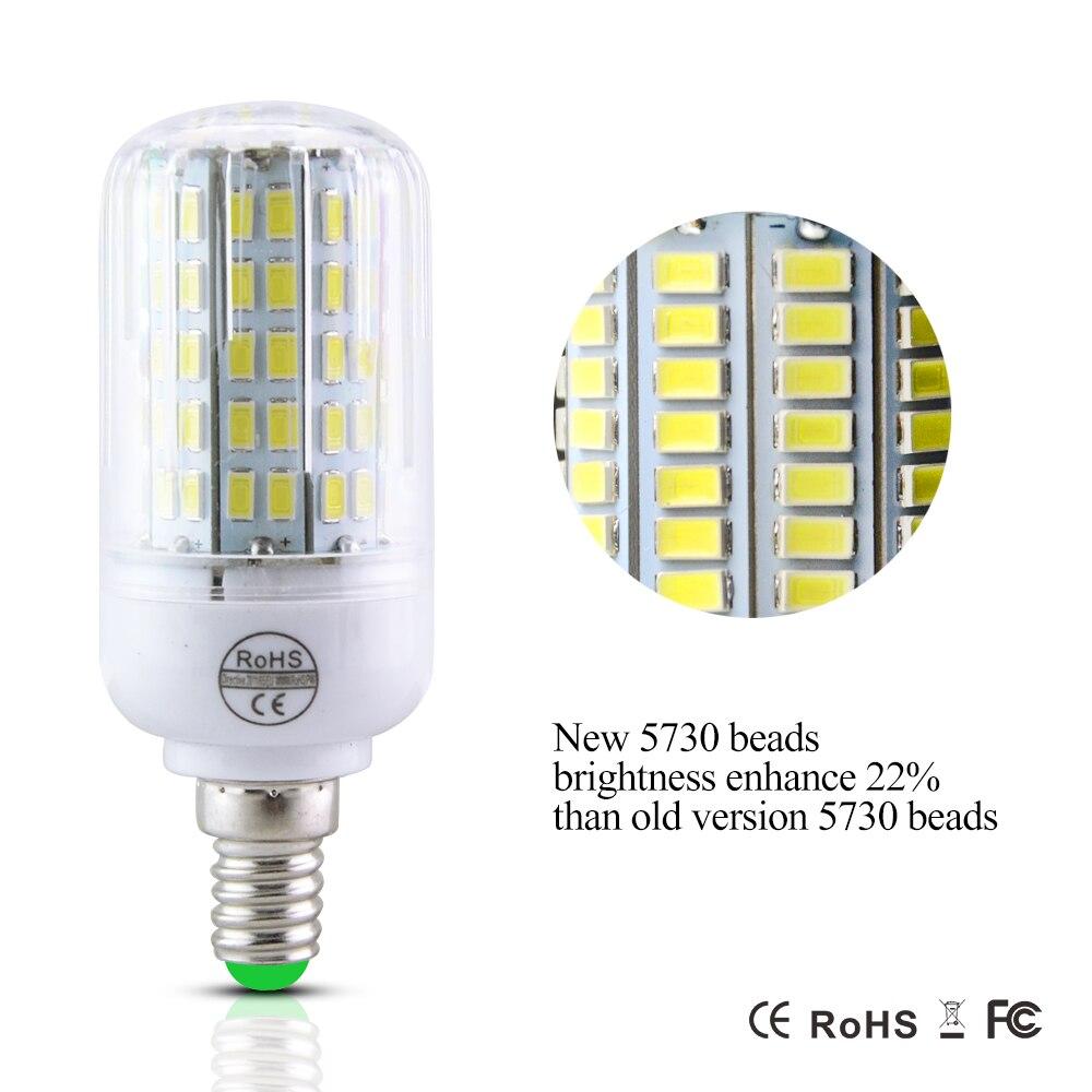 E27 220V LED lámpara 5730 SMD bombilla LED E14 maíz 24 30 42 64 80 89 108 136 Leds lámpara de Bombillas de luz Bombillas lámparas ampolla iluminación
