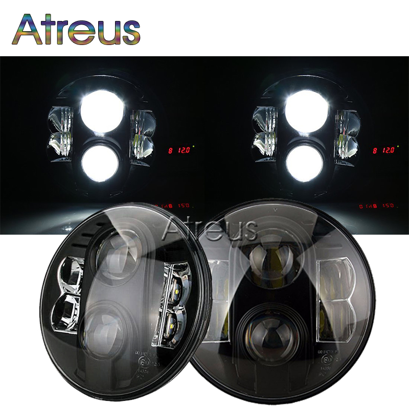 цена на Atreus Car LED Headlights For Jeep Wrangler JK 09-2015 CJ TJ Land Rover accessories Black 7Inch 80W Hi/Lo H4 H13 LED Fog Light