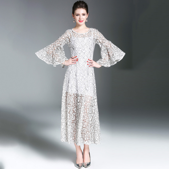 Elegant Lace Dress Women Luxurious Floral 34 Sleeve Plus Size Dress