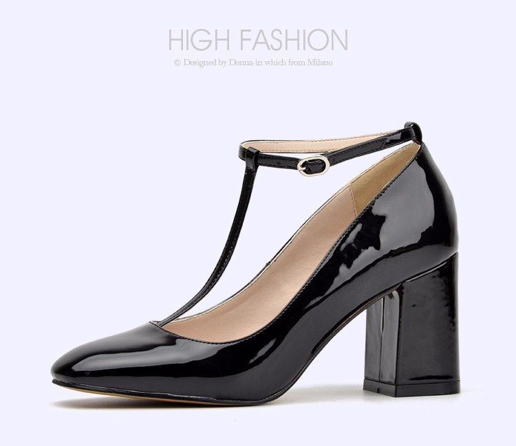 Donna in new collection patent leather shoes fashion square toe high ... 89dd27c2d539