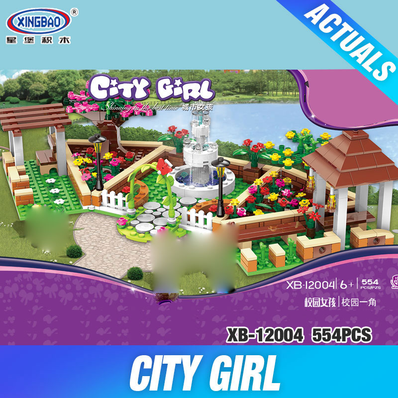 XINGBAO 12004 554Pcs City Girl Series The Corner of the School Set Building Blocks Bricks Educational Funny Toys Gifts for Kids black pearl building blocks kaizi ky87010 pirates of the caribbean ship self locking bricks assembling toys 1184pcs set gift