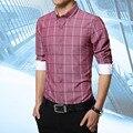 2016 New Plus size M-5XL Plaid Regular Long Sleeve men shirts,Casual Turn-down Collar shirt,Slim fit Cotton chemise homme-2217