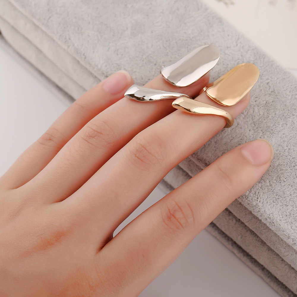 ZN 2019 New Fashion Nail Art Ring for Women Punk Metal Finger Joint Ring Jewelry Accessories Gift