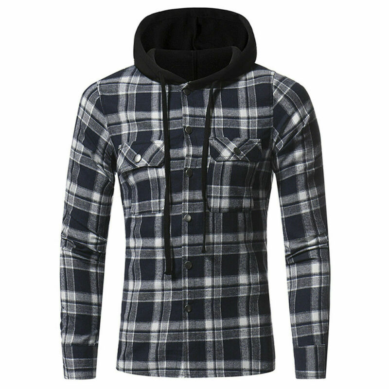 Fashion Men's Make Casual Plaid Hooded Checked Flannel Shirt Slim Tops Blouses