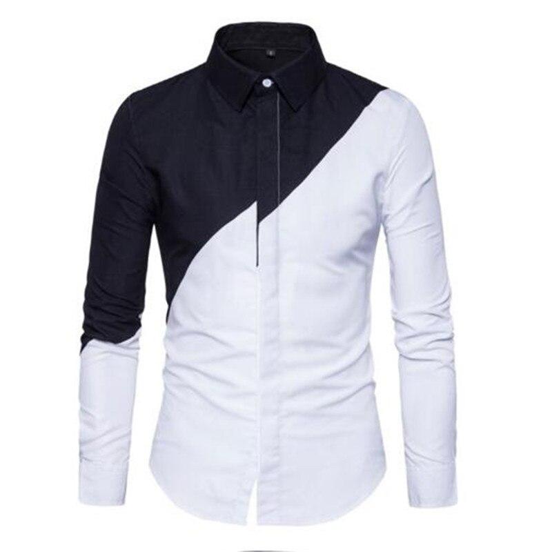 High Quality Shirt Men 2018 New  brand Patchwork Men's Long-sleeved Shirts slim   fashion Shirts size 2XL AE305