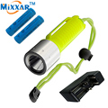 RUzk30 Underwater 60m Waterproof Handy led Diving diver Portable Flashlight Torch Cree Q5 diving lantern Lamp by 18650 battery