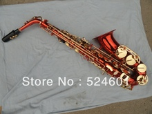 Wholesale A very good gift alto saxophone bright red gold Saxofon High F #