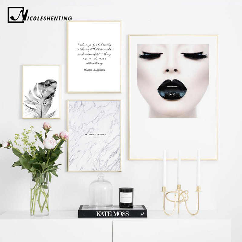 Fashion Girl Feather Canvas Poster Nordic style Wall Art Print Painting Beauty Quotes Decorative Picture Modern Home Decoration