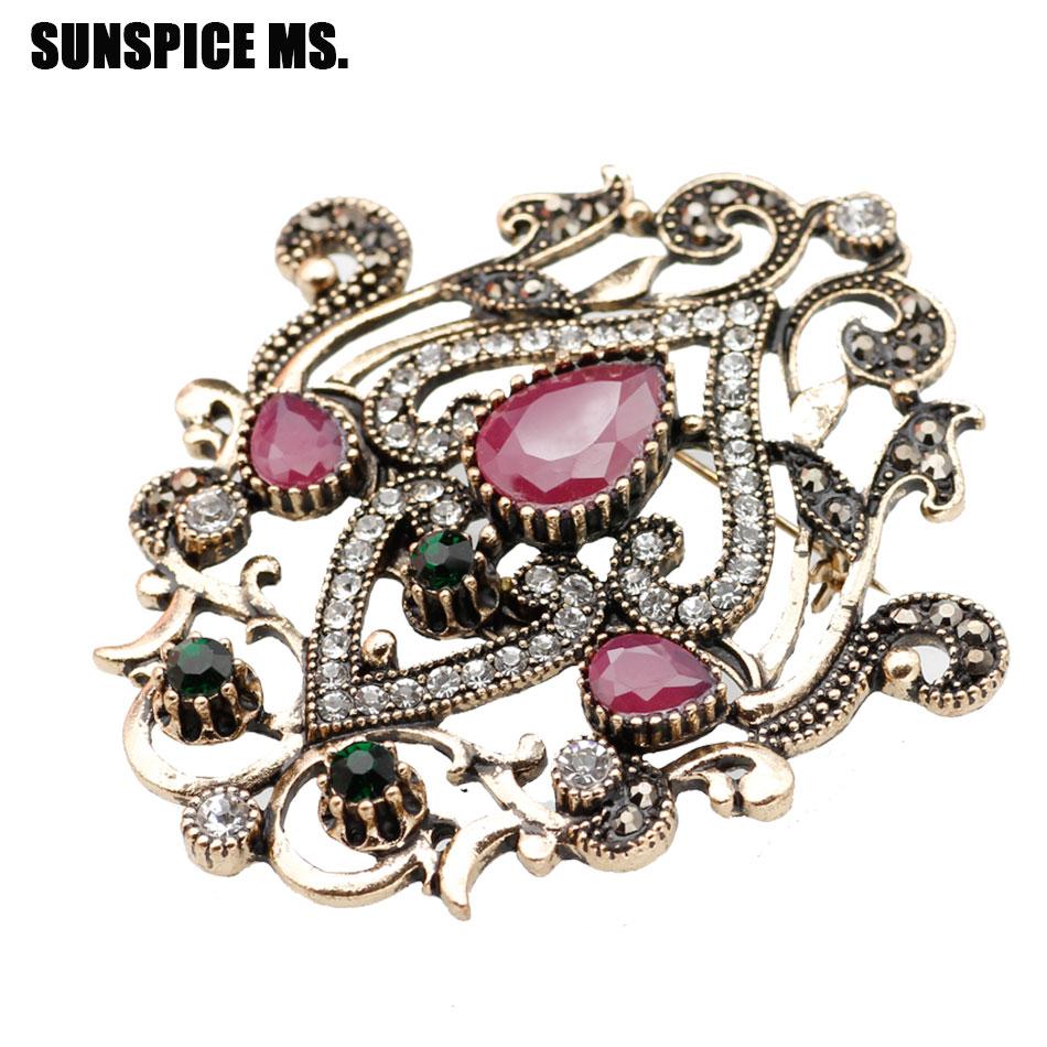 Kualitas klasik Turki Bros Bros Royal Perhiasan Retro Emas Plating Bunga Desain Jilbab Syal Kerah Pin Wanita Festival Hadiah