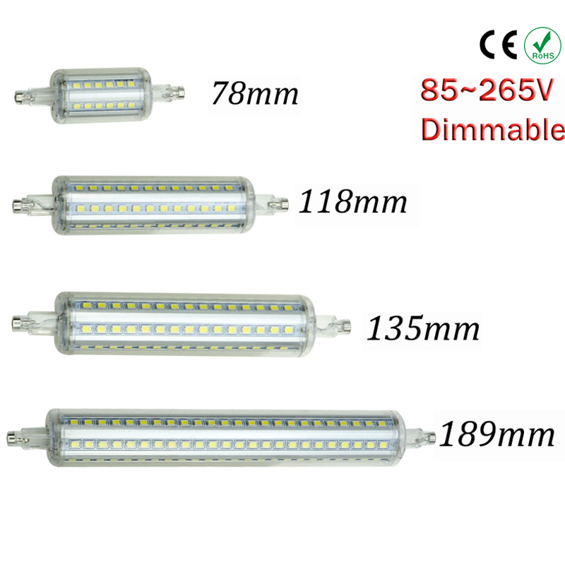 R7S Dimmable led 10W 118mm 360 degree 2835SMD 5W 78mm lampadas led r7s bulb 12W 135mm 15W 189mm replace halogen lamp 2017 new r7s led 118mm 78mm dimmable instead of halogen lamp cob 220v 110v 230v energy saving powerful r7s led bulb 15w 30w
