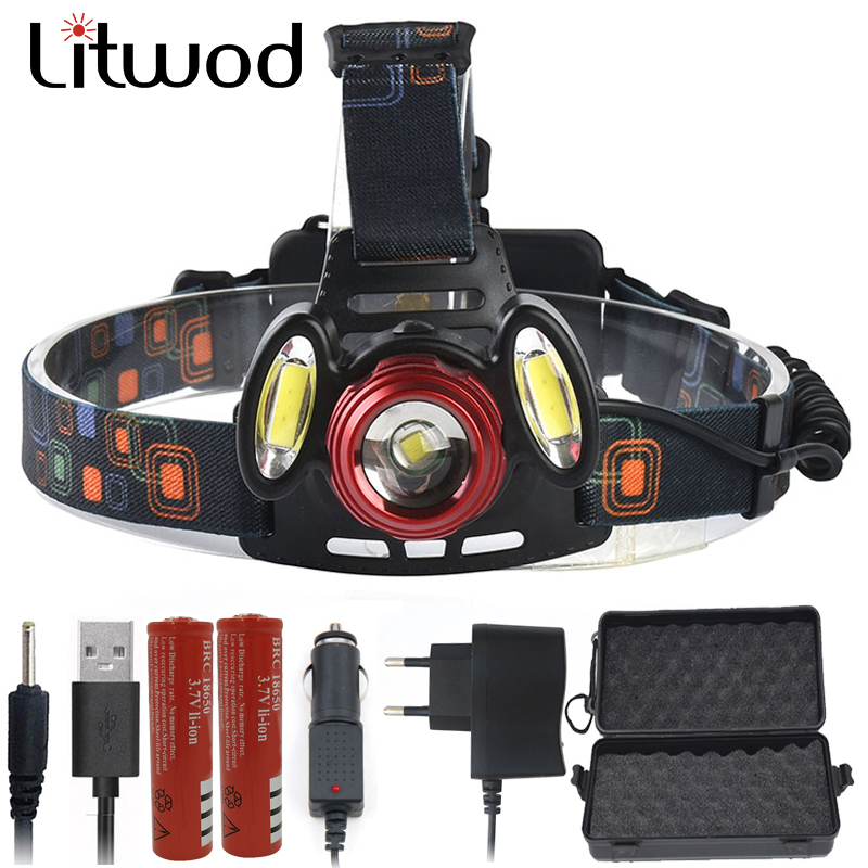 Litwod Z1020 XML T6 & COB LED Headlamp Head light Power by 2 pcs 18650 rechargeable battery fishing lamp head flashlight Lamp 3 modes 1 xml t6 flashlight ultra bright torch display power rechargeable led flashlight by 1 18650 1 26650 battery
