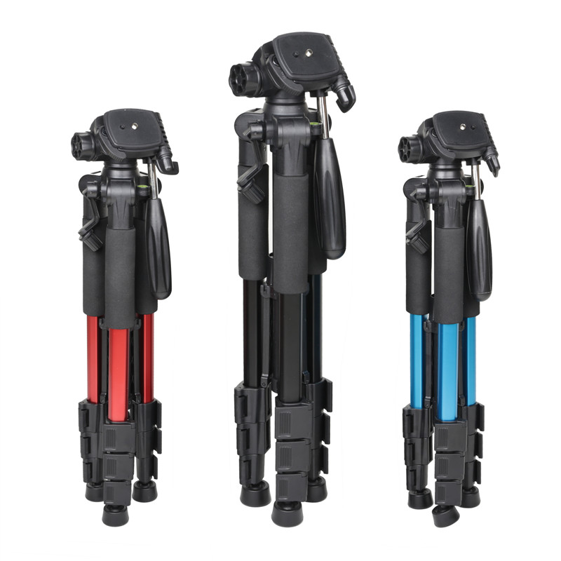 Q111 Professional Tripod Portable Pro Aluminium Tripod Accessories Camera Stand 3 Color Black Red Blue
