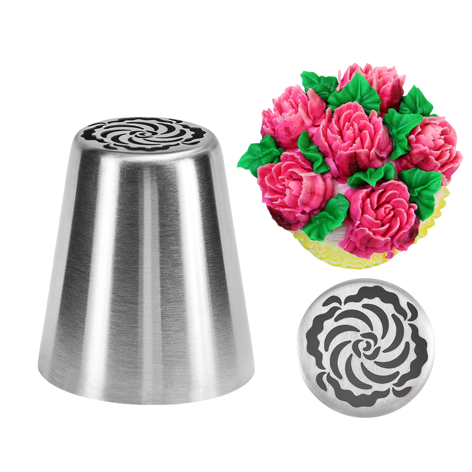 DIY Cake Decorating Nozzles Stainless Steel Icing Piping Nozzle Pastry Tips Tulip Flower Cookie Chocolate Mold Baking Tools
