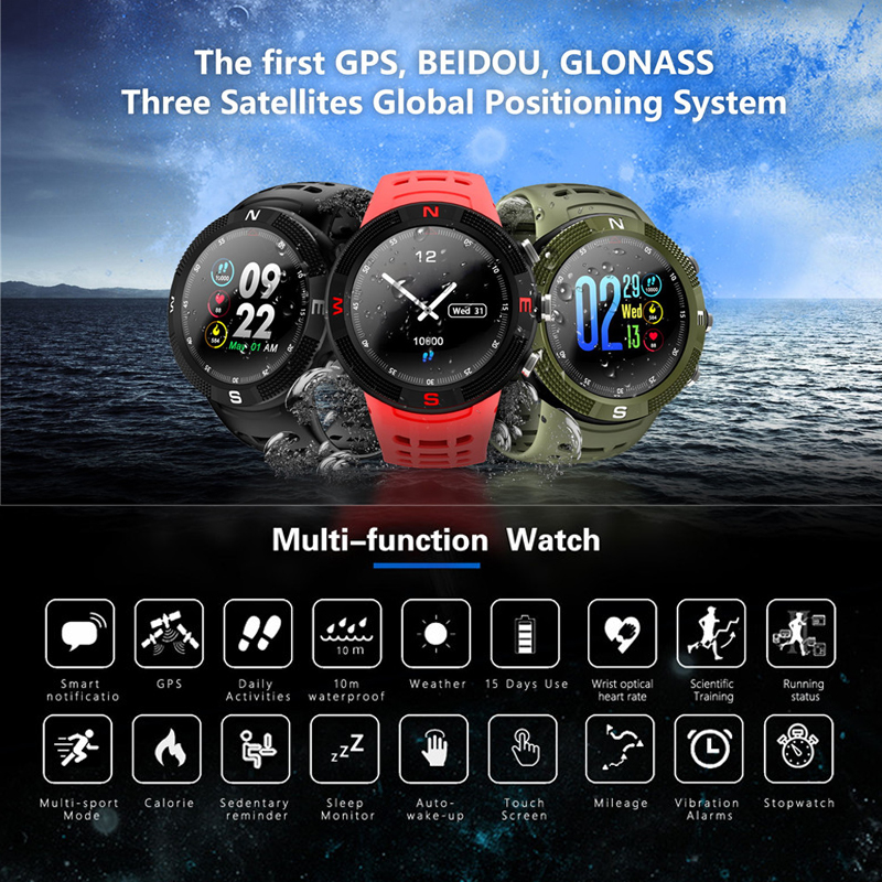 Greentiger F18 Smartwatch GPS podomètre IP68 étanche appel Message rappel hommes femmes Bluetooth Sport montre intelligente Android IOS-in Montres connectées from Electronique    2
