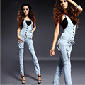 Women pure cotton cowboy Overalls Korean style fashion vintage sexy bleached slim pencil jeans quality boyfriend denim pants D7