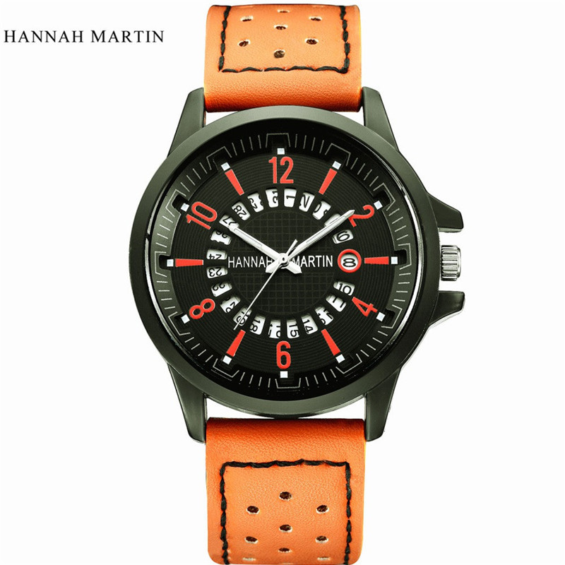 men's watch Relogio masculino Saat Clock New Hannah Martin Men Army Date Leather Stainless Steel Sport Quartz Wrist Watch,XL30 hannah martin men army date leather stainless steel sport quartz wrist watch relogio feminino erkek kol saati mens watches skmei