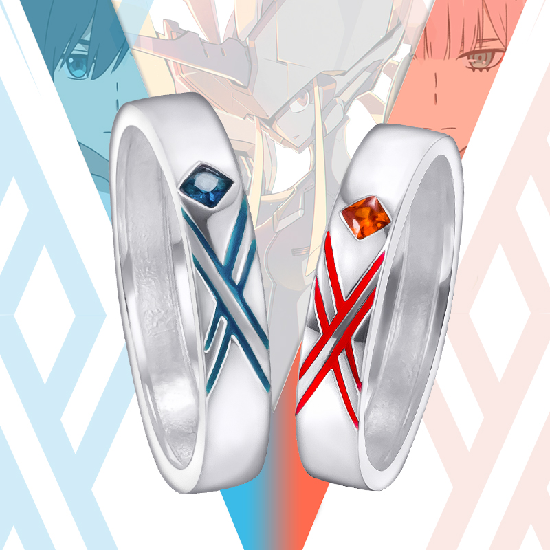 Anime DARLING In the FRANXX Cosplay Ring 925 Silver Zero Two Couples Rings 02 Cos Gift Daily Accessories for Lovers Jewelry