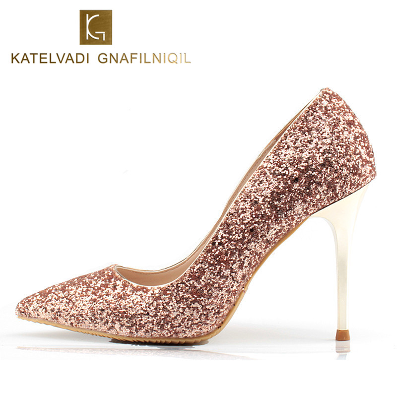 18f2f62d4ab6 Fashion Women Party Shoes 10CM High Heels Champagne Glitter Shoes Sexy  Pointe Shoes Women Small Size High Heels Pumps K-047