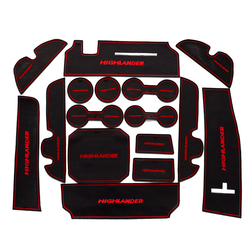16Pcs Lot Car Interior Upholstery For Toyota 15-17 Highlander Rubber Mat Car Accessories ...