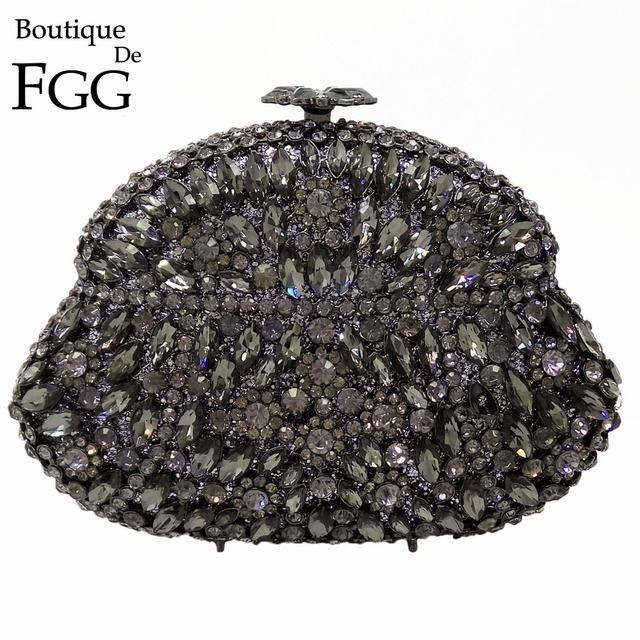 Boutique De FGG Dazzling Pote de Vinho Cinza Cristal de Diamante Saco da Noite de Metal Hard Case Minaudiere Bolsa Festa de Casamento Da Bolsa Da Embreagem