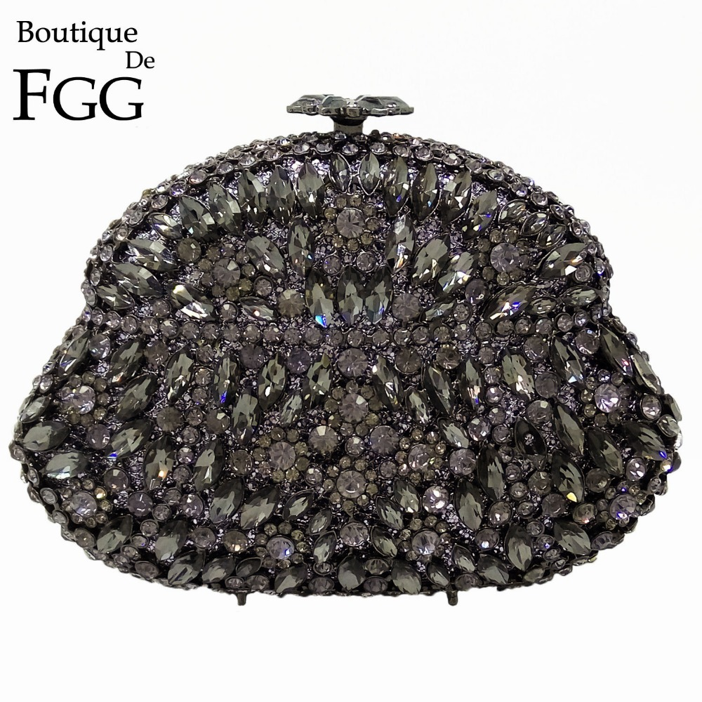 Boutique De FGG Dazzling Wine Pot Gray Crystal Diamond Evening Bag Metal Hard Case Minaudiere Handbag Purse Wedding Party Clutch luxury crystal clutch handbag women evening bag wedding party purses banquet