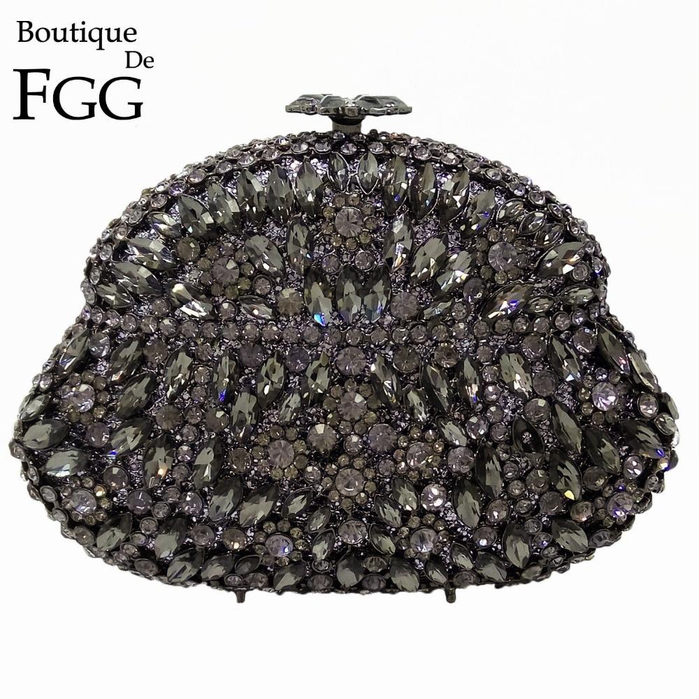 Boutique De FGG Wine Pot Grey Crystal Women Evening Bags Metal Hard Case Wedding Party Diamond Clutch Minaudiere Handbag Purse