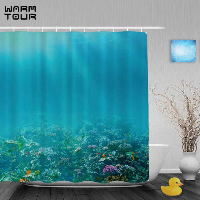 WARM TOUR Underwater Coral Reef Shower Curtain Marine Life Designs Curtains Waterproof Mildew Polyester Fabric With Hooks