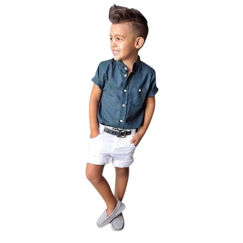 Toddler Boys Clothes Summer Children Outfits Sets Cotton Lapel T-Shirts+Short 2pcs Suits