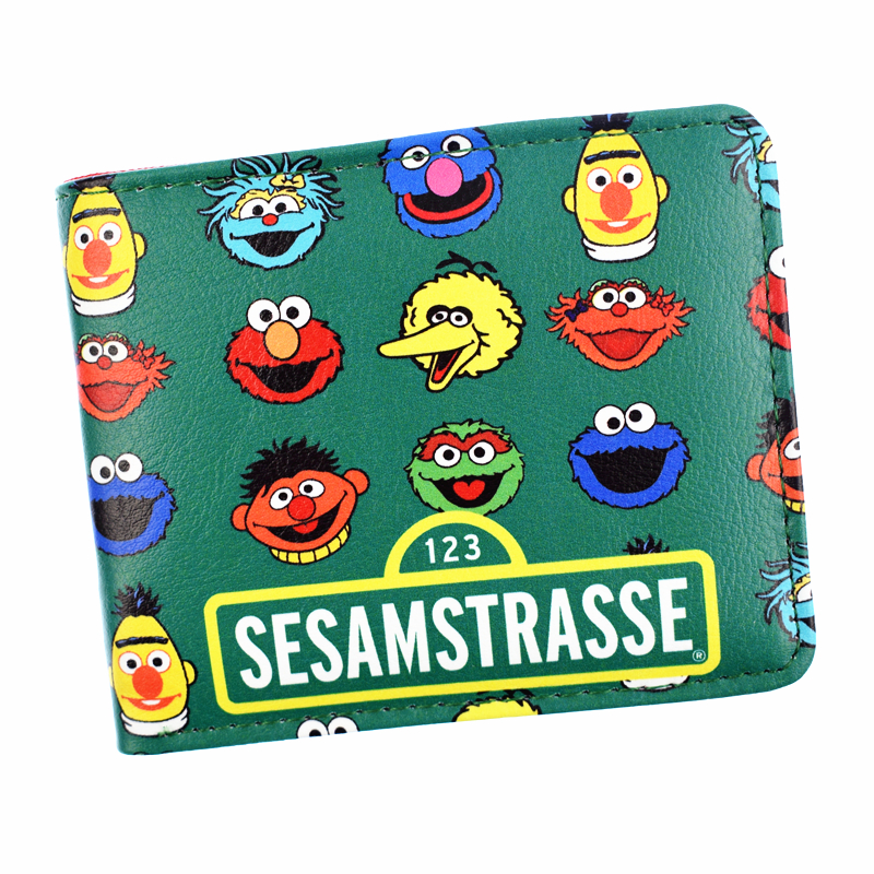 New Arrival Anime Cartoon SESAME STREET Wallet Short Purse With Coin Pocket