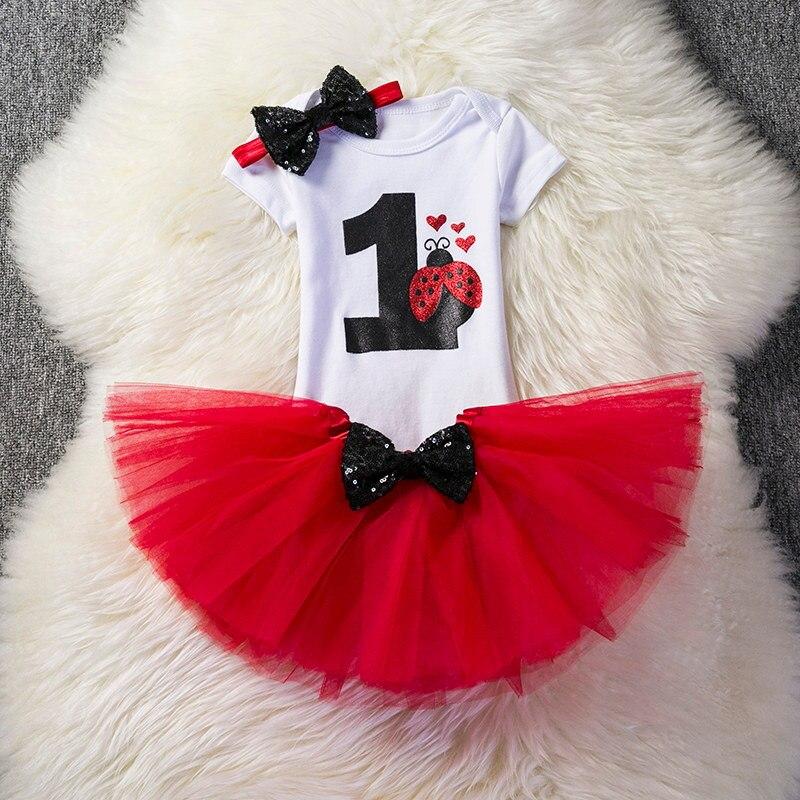 Newborn Red Pattern Dress for Baby First 1 Year Girl Baby Birthday Tutu Cake Smash Outfits Baby Girls Print Digital Cute Dresses